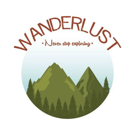 wanderlust label with landscape and forest scene