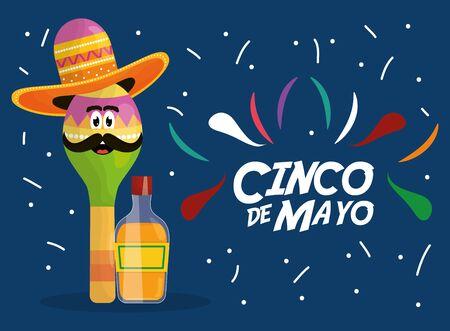 cinco de mayo maracas character with tequila bottle