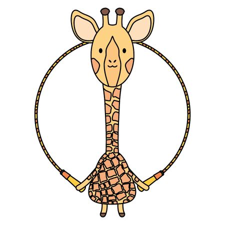 cute giraffe jumping rope childish character vector illustration design Foto de archivo - 129232960
