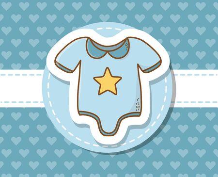 baby shower card with blue cloth Foto de archivo - 129232966