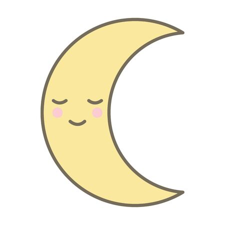 moon night comic character vector illustration design Çizim