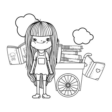 happy little girl reading books with cart Ilustracja