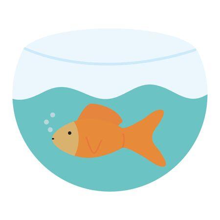 cute ornamental fish in aquarium mascot character vector illustration design