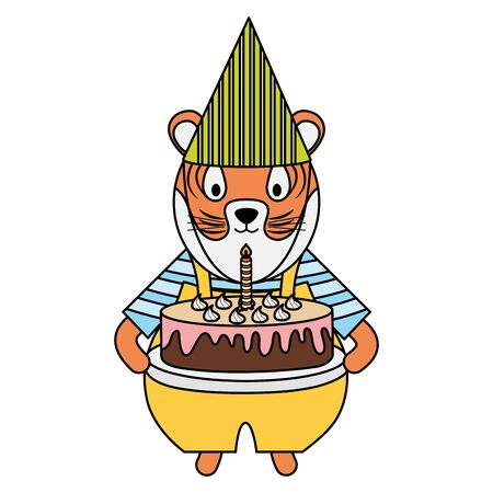 cute tiger with sweet cake in party celebration Foto de archivo - 129233036