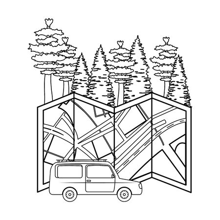 pines trees forest scene with paper map and car vector illustration design 일러스트
