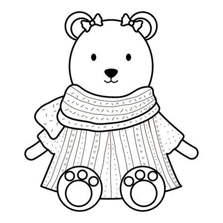 cute female polar bear childish character Çizim