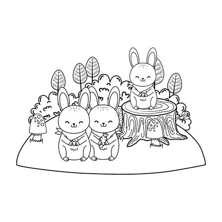 cute rabbits in the field woodland characters vector illustration design