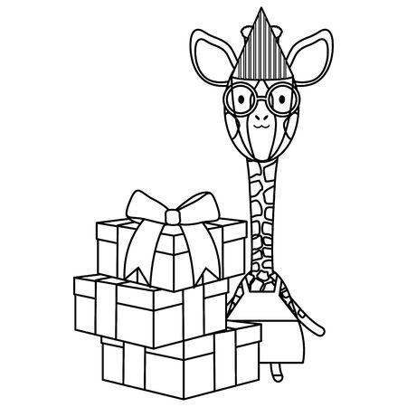 cute giraffe with gift box in birthday party Foto de archivo - 129187143