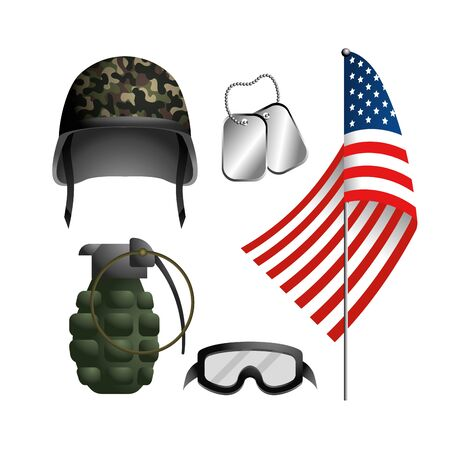 set military helmet, goggle, grenade and necklace
