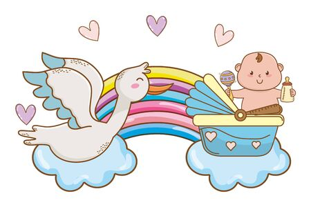 cute baby shower baby with babycare elements cartoon vector illustration graphic design Standard-Bild - 129174462