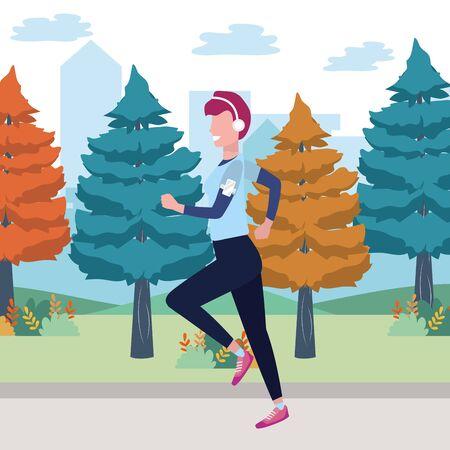 fitness sport train cartoon Illustration