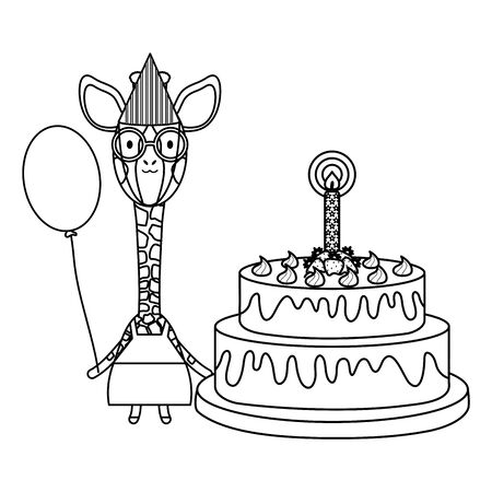 cute giraffe with balloon helium and cake in birthday party Foto de archivo - 129186933