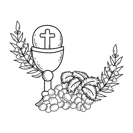 sacred chalice religious with grapes Stock Illustratie