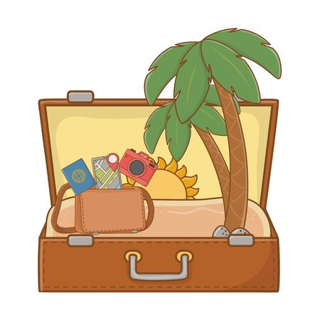 suitcase with bag pass smartphone and camera cartoon summer and travel vector illustration editable design