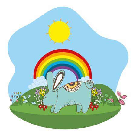 Rabbit cartoon design, Animal cute zoo life nature and fauna theme Vector illustration Stock Illustratie