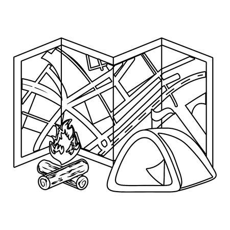 outdoor camping cartoon Standard-Bild - 129233101