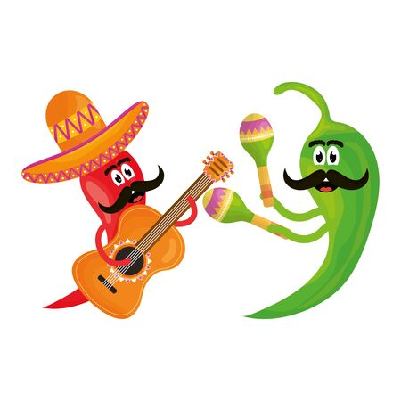 chilli peppers with music instruments comics characters Stock Illustratie