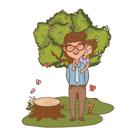 man carrying child avatar cartoon character glasses forest landscape vector illustration graphic design Standard-Bild - 129223169
