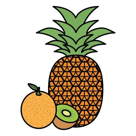fresh pineapple and orange with kiwi Иллюстрация
