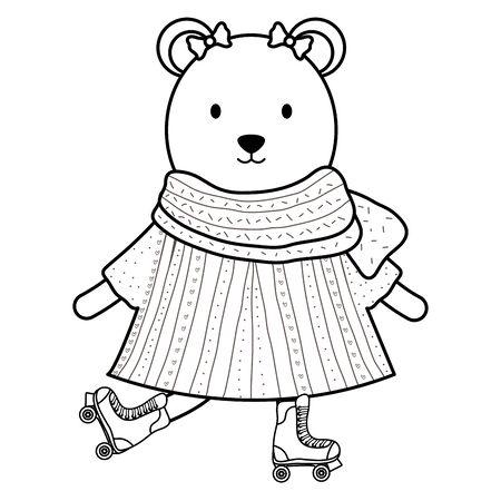 cute female polar bear in skates Foto de archivo - 129233163