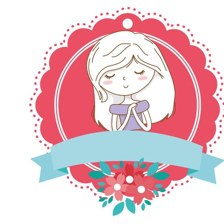 Cute girl cartoon stylish outfit dress portrait floral bloom frame  イラスト・ベクター素材