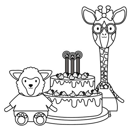 cute sheep and giraffe with cake in birthday party