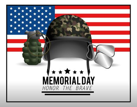 military helmet with necklace and grenade to memorial day