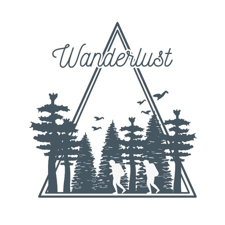 wanderlust label with forest scene Иллюстрация