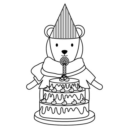cute polar bear with sweet cake in birthday party Foto de archivo - 129233196