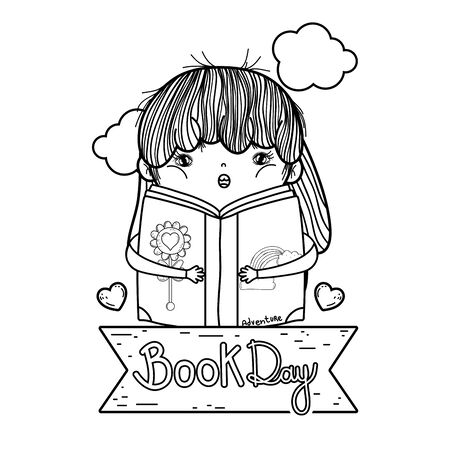 happy little girl reading book with book day ribbon