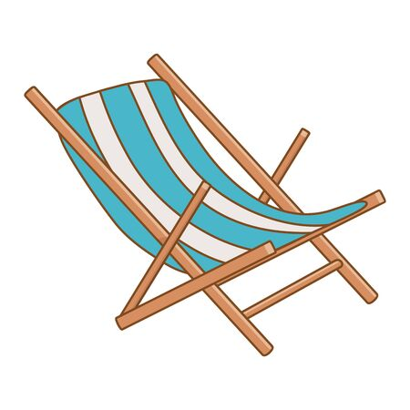 Tourist trip summer travel blue and white wooden beach chair isolated adventure exploration vector illustration graphic design 일러스트
