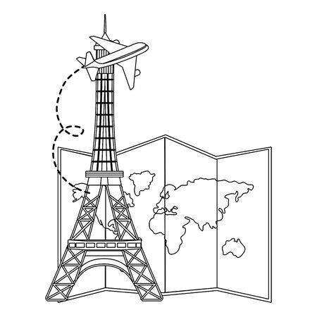 Eiffel tower landmark design, Travel trip vacation tourism journey and tourist theme Vector illustration 일러스트