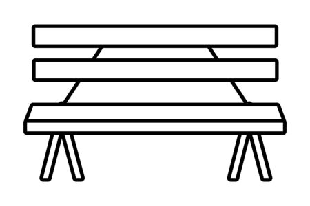 Wooden park bench craft outdoors equipment useful isolated vector illustration graphic design Çizim