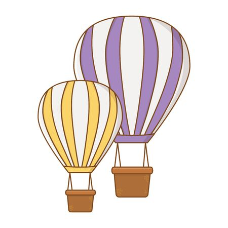 violet and yellow hot air balloons cartoons flat style vector illustration editable design