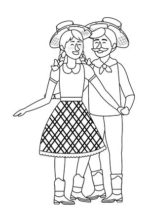 festa junina brazil party couple wearing traditional clothes cartoon vector illustration graphic design
