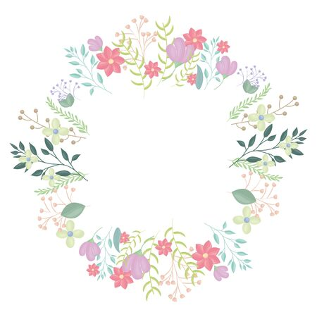 circular crown with flowers and leafs decoration vector illustration design Stockfoto - 129223763