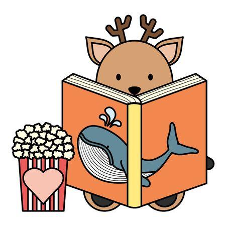 cute reindeer reading book character