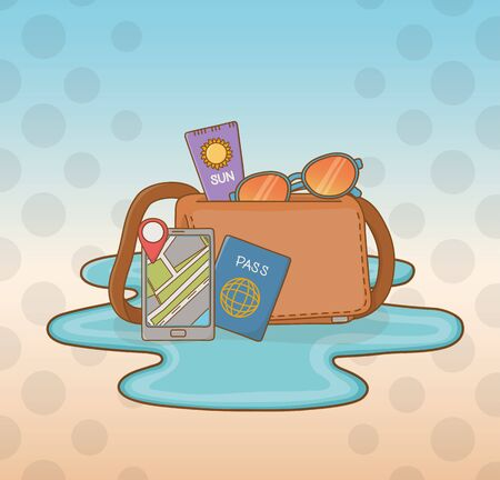 suitcase bag with travel vacations items Ilustracja