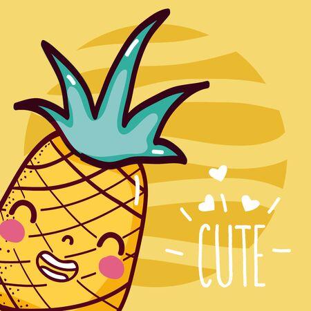 Pineapple cute cartoon Zdjęcie Seryjne - 129233404