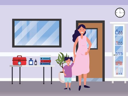 family kids care cartoon