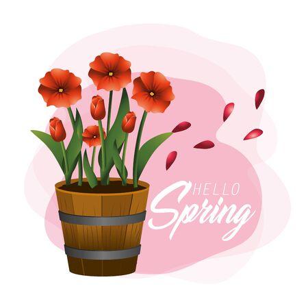 nature spring flowers plants with leaves Ilustração