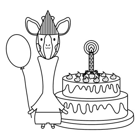 cute giraffe with balloon helium and cake in birthday party