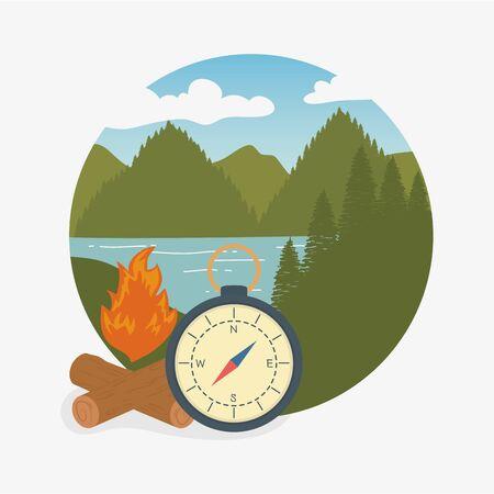 camping zone scene with compass guide Ilustração