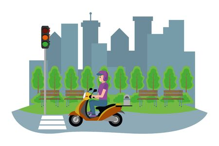young man driving motorcycle in front city landscape cartoon vector illustration graphic design Standard-Bild - 129223713