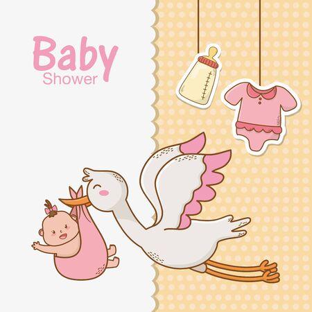 baby shower card with stork Standard-Bild - 129233478