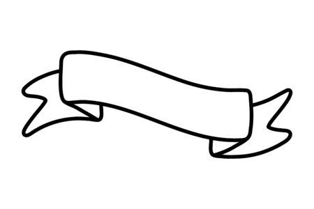 ribbon icon cartoon black and white