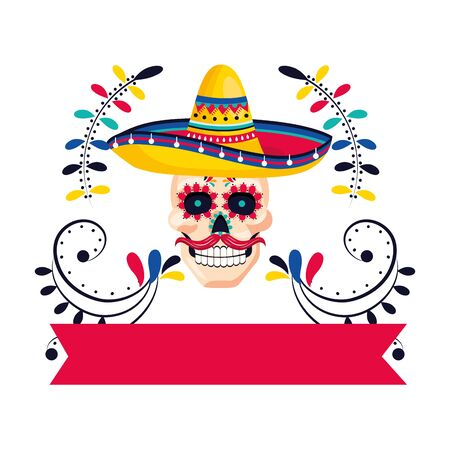 mexican culture skull cartoon Иллюстрация