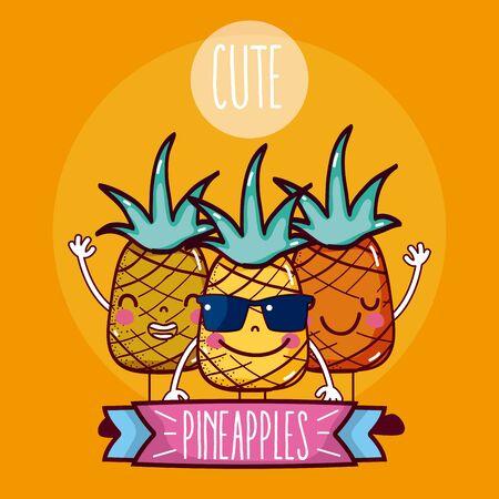 Pineapples fruits friends cartoon