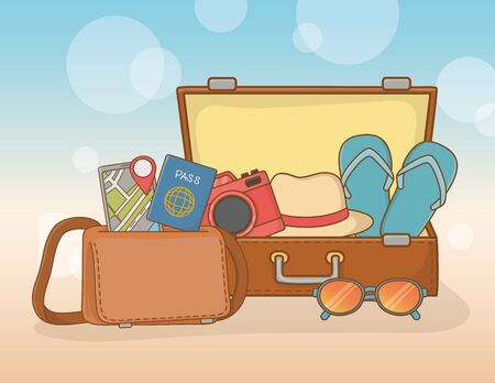 suitcase bag with travel vacations items Stock Illustratie