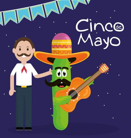 cinco de mayo celebration with man and cactus character